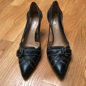 Franco Sarto black leather heels shoes, size 61/2M